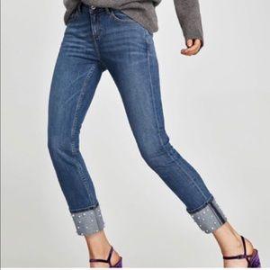 Zara Mid Rise pearl cuffs embellished jeans